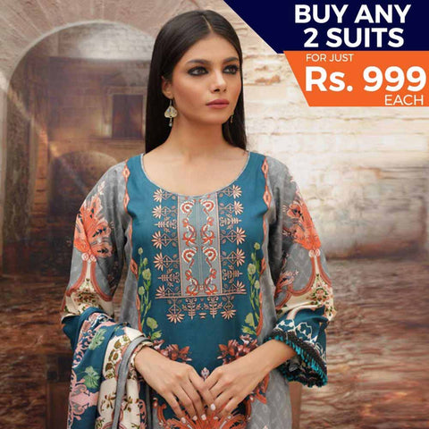 Rangreza Printed Cotton 3 Piece Un-Stitched Suit - 02