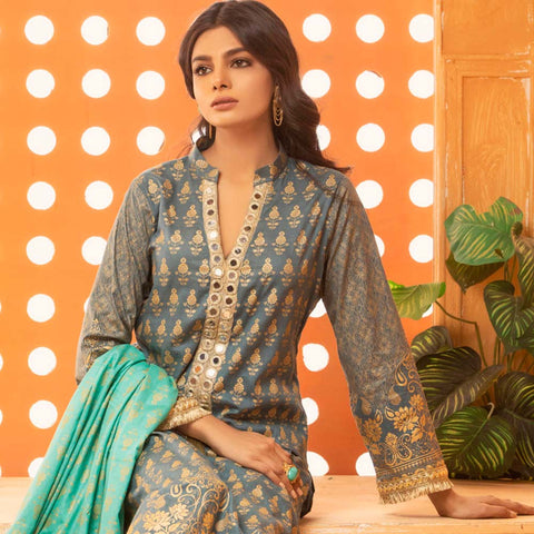 Rangreza Printed Lawn 3 Piece Un-Stitched Suit Vol 2 - 02
