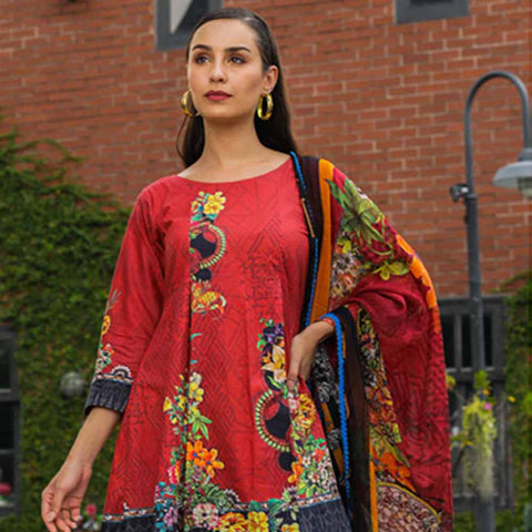 Salina Digital Printed Cotton Satin 3 Piece Un-Stitched Suit - 02