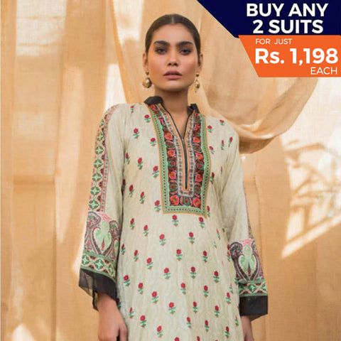 Rangreza Printed Lawn 3 Piece Un-Stitched Suit Vol 2 - 5