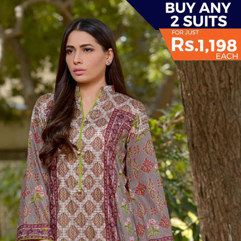 Three Star Printed Lawn 3 Piece Un-Stitched Suit Vol 2 - 3 A
