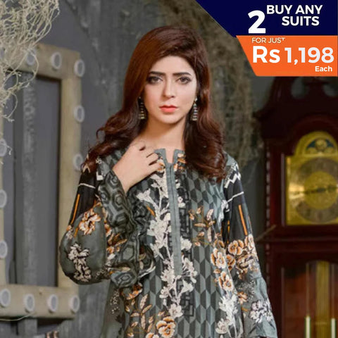 Three Star Printed Lawn 3 Piece Un-Stitched Suit Vol 1 - 1 B