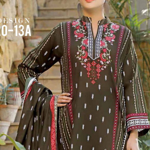 Daman Printed Lawn 3 Piece Un-Stitched Suit Vol 2 - 13 A