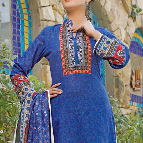 Daman Printed Lawn 3 Piece Un-Stitched Suit Vol 2 - 14 A