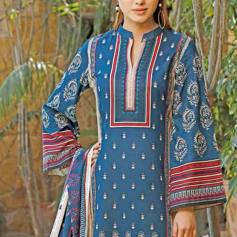 Daman Printed Lawn 3 Piece Un-Stitched Suit Vol 2 - 15 A