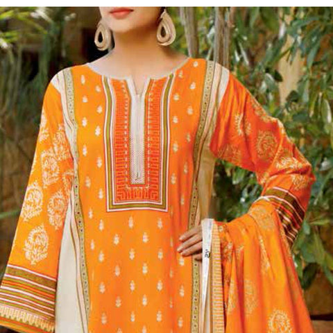 Daman Printed Lawn 3 Piece Un-Stitched Suit Vol 2 - 15 B