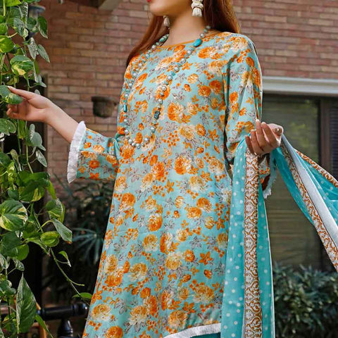 VS Signature Printed Lawn 3 Piece Un-Stitched Suit Vol 1 - 213 B