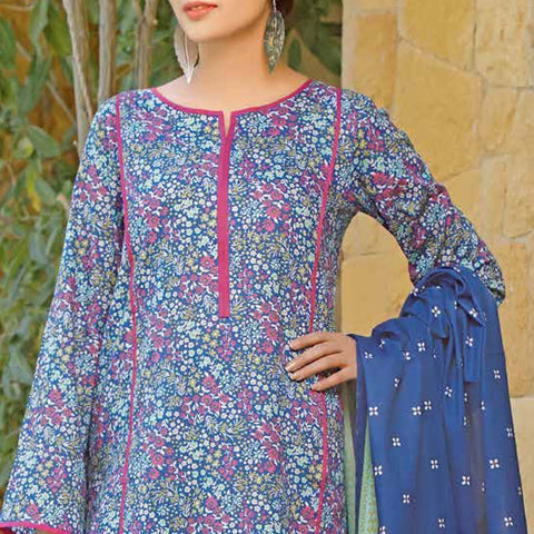 Daman Printed Lawn 3 Piece Un-Stitched Suit Vol 2 - 2 B