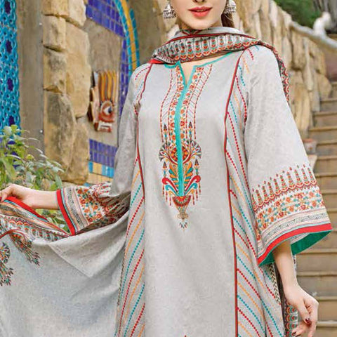 Daman Printed Lawn 3 Piece Un-Stitched Suit Vol 2 - 9 B