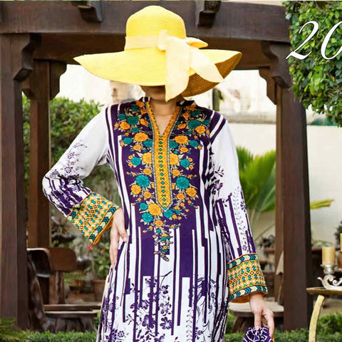 Daman Printed Cambric 3 Piece Un-Stitched Suit Vol 2 - 205B