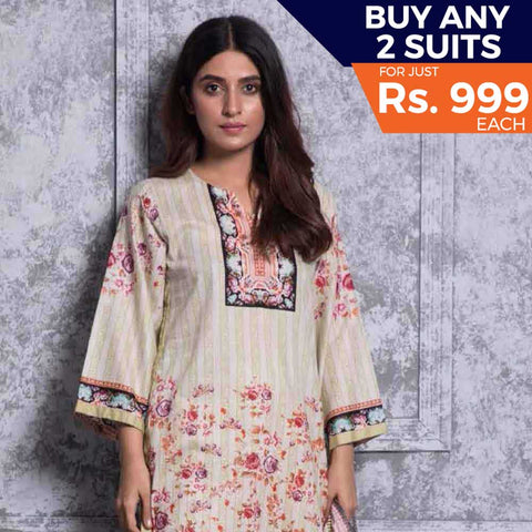 Rangreza Printed Lawn 3 Piece Un-Stitched Suit Vol-06 ZS - 10