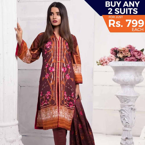 Sahil Printed Lawn 3 Piece Un-Stitched Suit Vol 7 - ZS 09