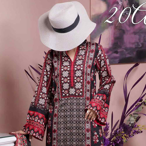 Daman Printed Cambric 3 Piece Un-Stitched Suit Vol 2 - 20A