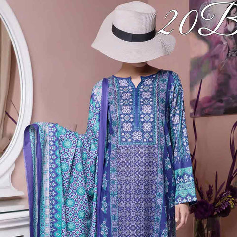 Daman Printed Cambric 3 Piece Un-Stitched Suit Vol 2 - 20B