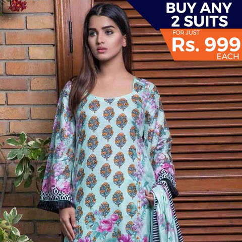 Rangreza Printed Lawn 3 Piece Un-Stitched Suit Vol 8 - 04