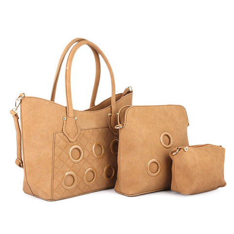 Women's Handbag 3 Pcs (2219) - Apricot