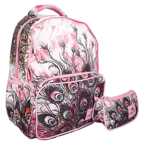 School Bag 2291 - Pink Peacock Feathers