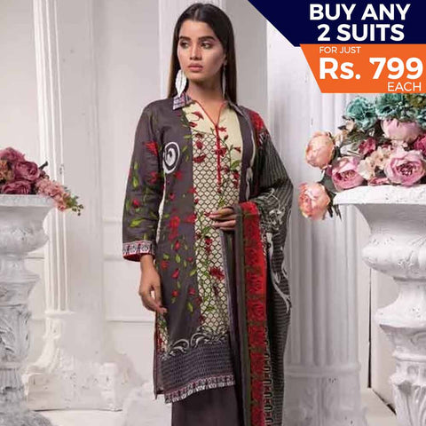 Sahil Printed Lawn 3 Piece Un-Stitched Suit Vol 7 - ZS 01