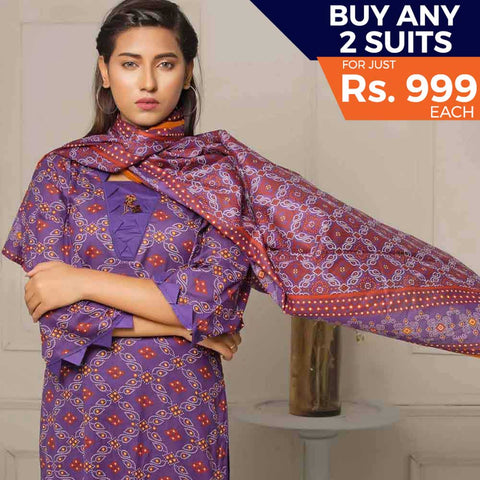 Rangreza Printed Lawn 3 Piece Un-Stitched Suit Vol-05 ZS - 03