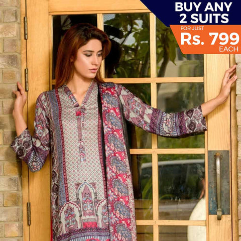 Three Star Printed Lawn Suit Vol 6 - 3 B