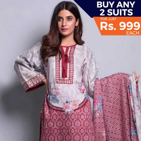 Rangreza Printed Lawn 3 Piece Un-Stitched Suit Vol-04 ZS - 15
