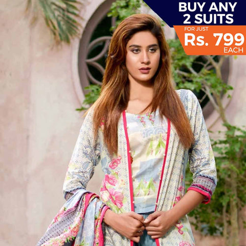 Three Star Printed Lawn Suit Vol 6 - 5 B