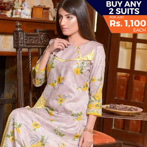 Libas Printed Lawn 3 Piece Un-Stitched Suit Vol 1 - 5 B