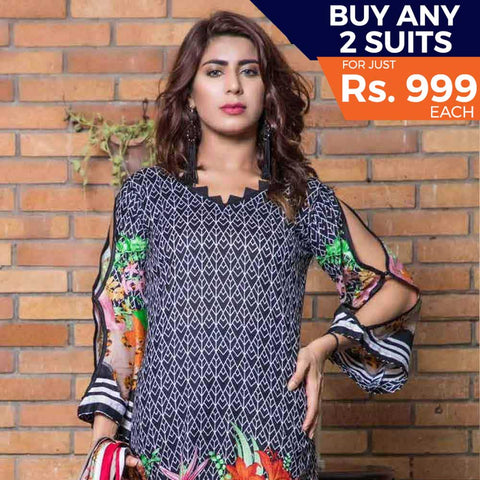 Rangreza Printed Lawn 3 Piece Un-Stitched Suit Vol 8 - 05