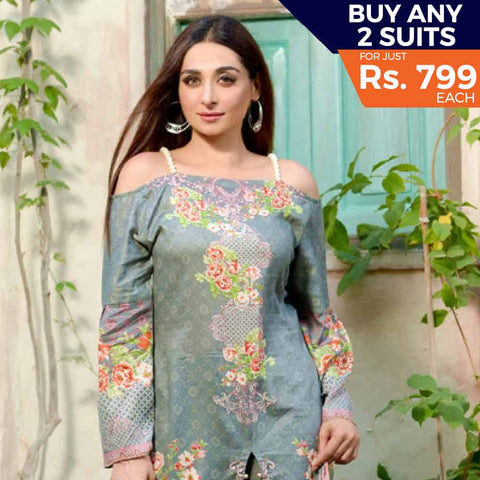 Three Star Printed Lawn Suit Vol 6 - 7 A
