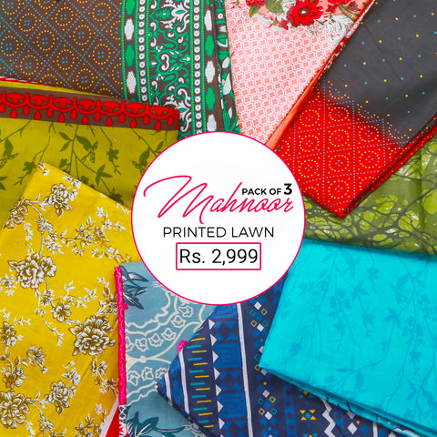 Mahnoor Printed Lawn Pack Of 3 - Multi