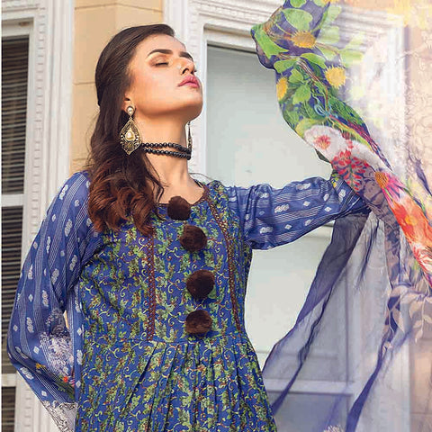 Masumery Embroidered Lawn 3 Piece Un-Stitched Suit Vol 17 - 02