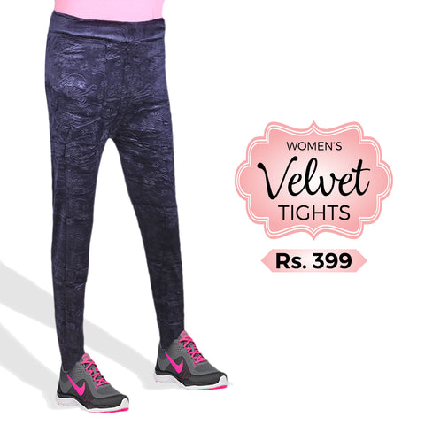 Women's Velvet Tights - Navy Blue