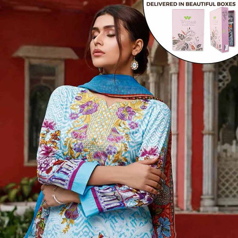 Zobia Noor Embroidered Lawn 3 Piece Un-Stitched Suit - ZN-05B