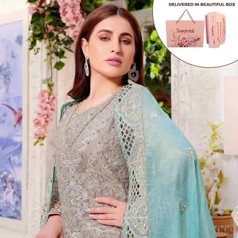 Exclusively Yours Heavy Embroidered Chiffon 3 Piece Un-Stitched Suit - 4633