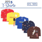 Boys Full Sleeves Printed T-Shirts Pack Of 5 - Multi