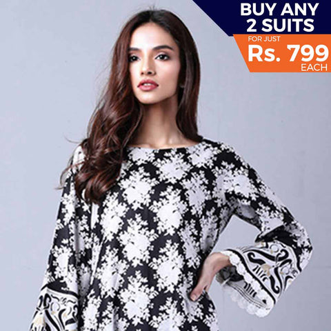 Sahil Black & White Printed Lawn Un-Stitched Suit 9