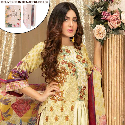 Gulzeb Embroidered Lawn Un-Stitched Suit - 2