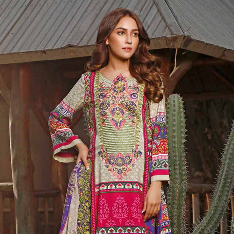 Haya Emaan Embroidered Viscose 3 Piece Un-Stitched Suit - 2A