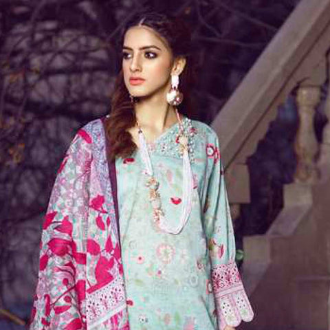 Monsoon Printed Lawn 3 Piece Un-Stitched Suit Vol 1 - 2 B