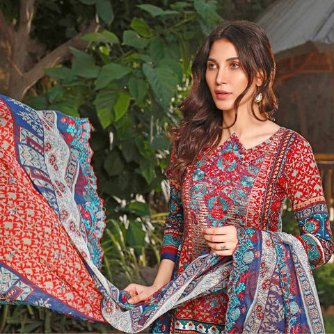 Haya Emaan Embroidered Viscose 3 Piece Un-Stitched Suit - 2B