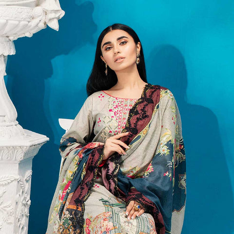 Iman Embroidered Lawn 3 Piece Un-Stitched Suit Vol 2 - 2 B