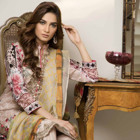 Zmaria Embroidered Lawn Un-Stitched Suit - 2B