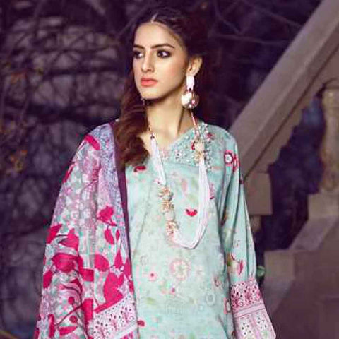 Monsoon Printed Lawn 3 Piece Un-Stitched Suit Vol 1 - 2 C