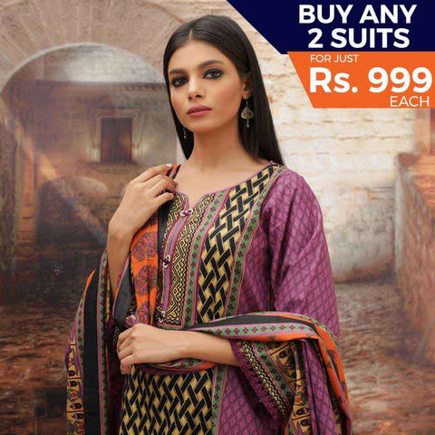 Rangreza Printed Cotton 3 Piece Un-Stitched Suit - 03