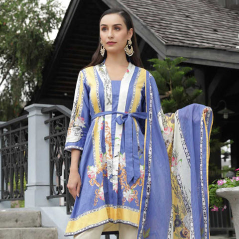 Digital Printed Cotton Satin 3 Piece Un-Stitched Suit - 03