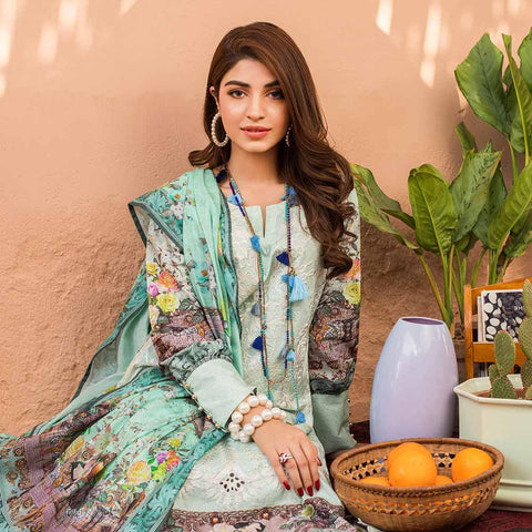 Regalia Digital Printed Embroidered Lawn 3 Piece Un-Stitched Suit Vol 2 - 3
