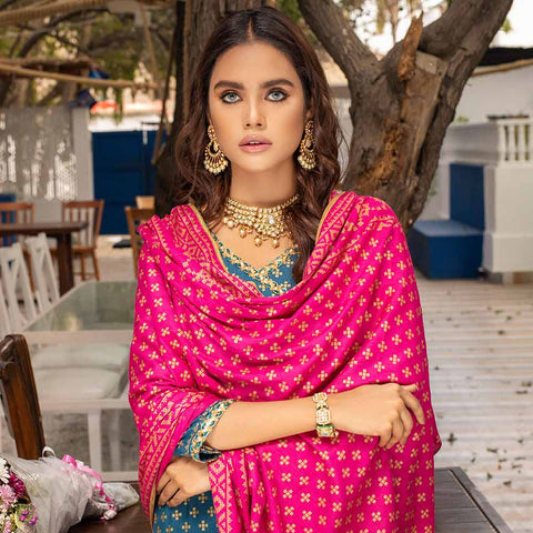 Banarsi Gold Printed Cotton 3 Piece Un-Stitched Suit Vol 2 - 03