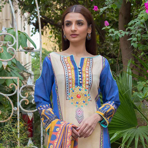 Digital Printed Karandi 3 Piece Un-Stitched Suit - 03