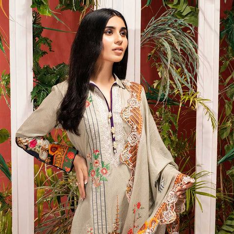 Iman Embroidered Lawn 3 Piece Un-Stitched Suit Vol 2 - 3