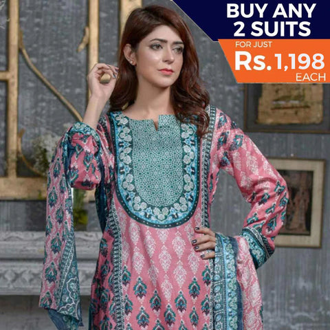Three Star Printed Lawn 3 Piece Un-Stitched Suit Vol 1 - 10 B